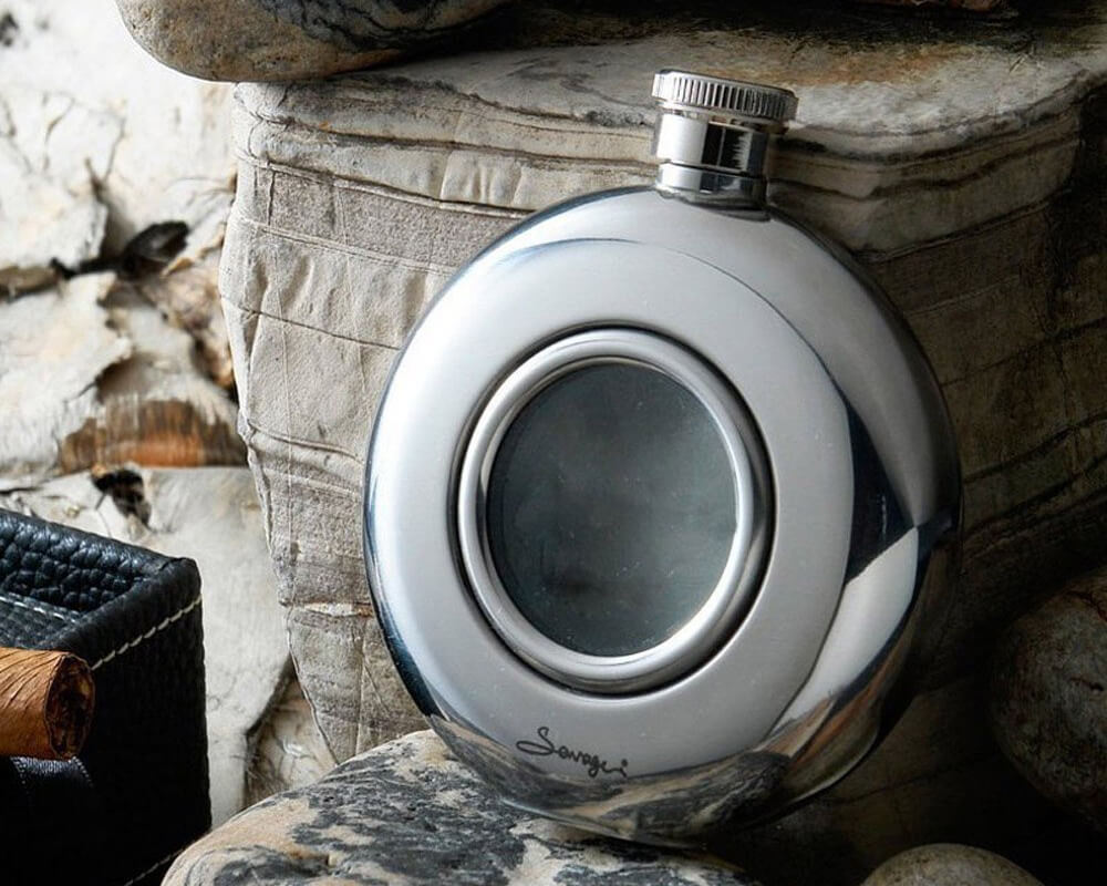 Cool Glass Front Stainless Steel Hip Flask for Dad