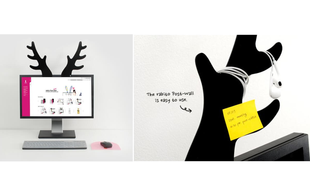 Rabito Monitor Post Wall: a Playful Way to Decorate Monitor and Organize Desk