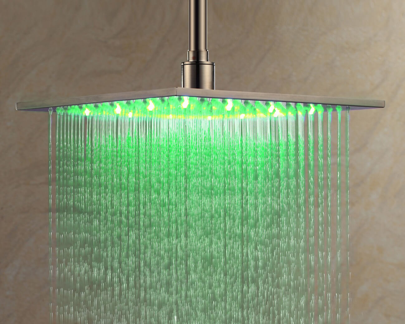 Rainfall Shower Head with Color Changing LED Light