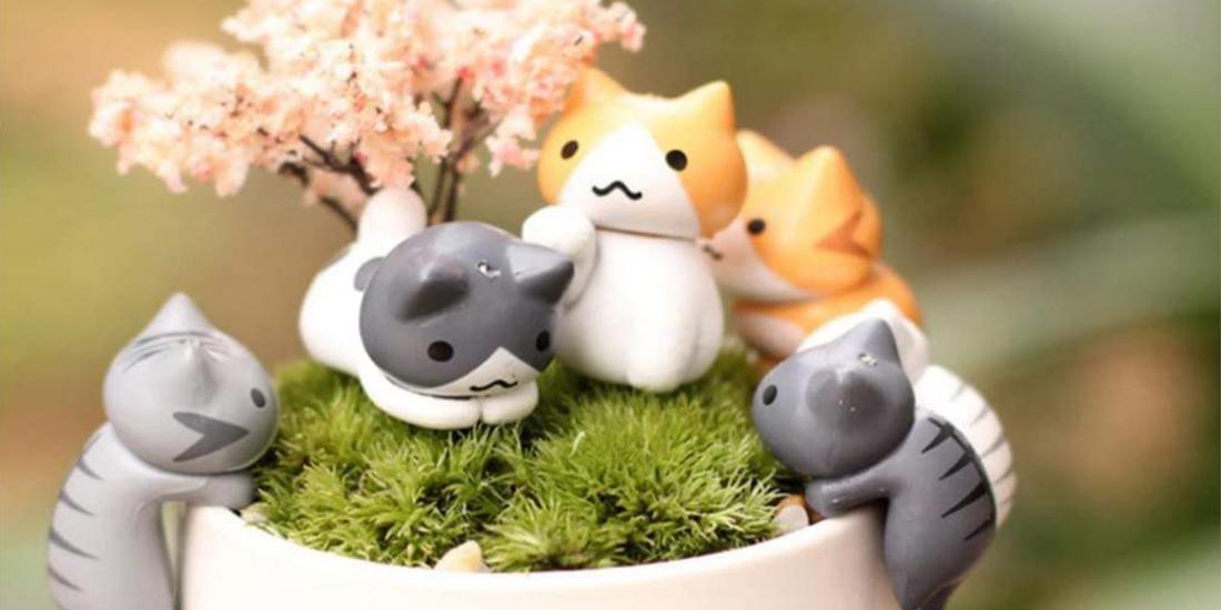 Adorable Lucky Miniature Cat Fairy Garden