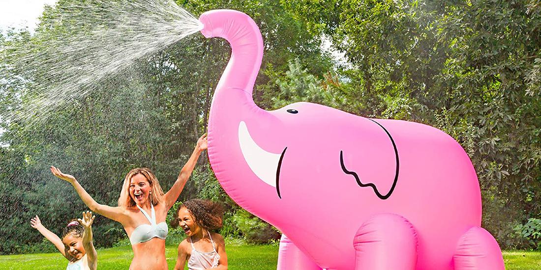 Giant Pink Elephant Inflatable Yard Sprinkler