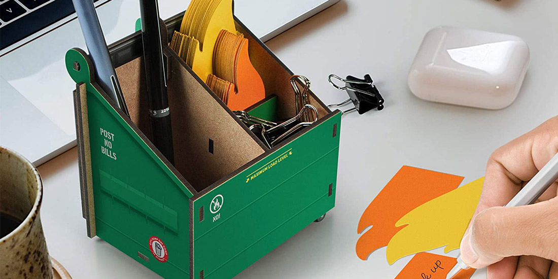 Desk Dumpster - Pencil Holder With Note Cards