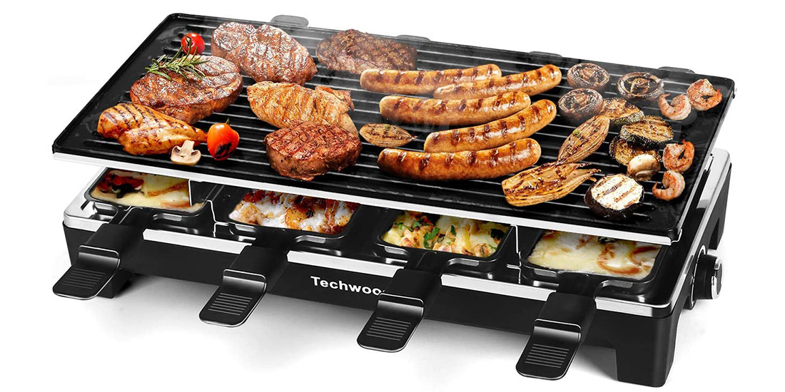 Electric Indoor Grill with 8 Cheese Melt Pans