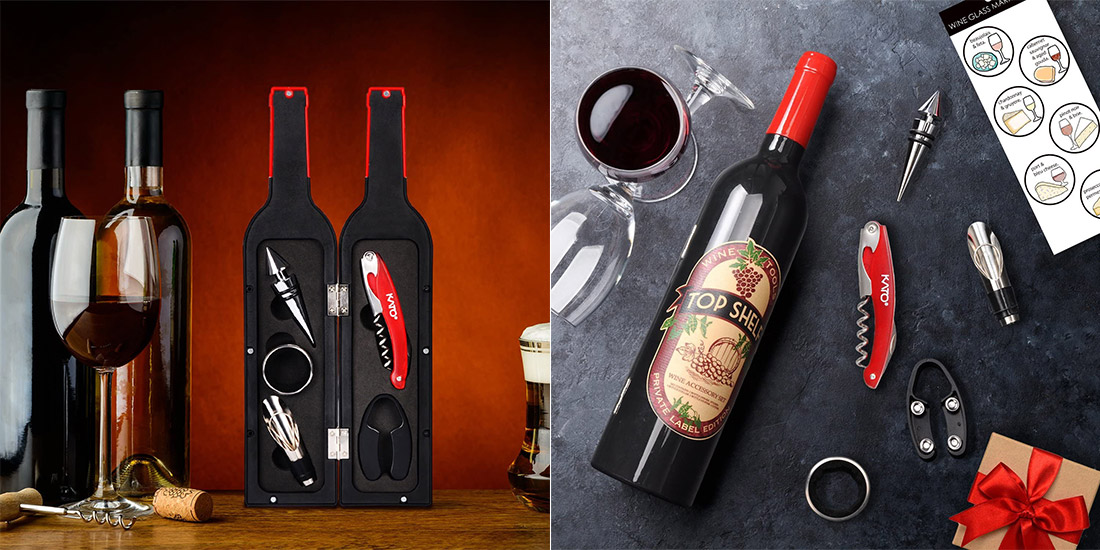 Wine Accessories Packed in Bottle Shaped Case